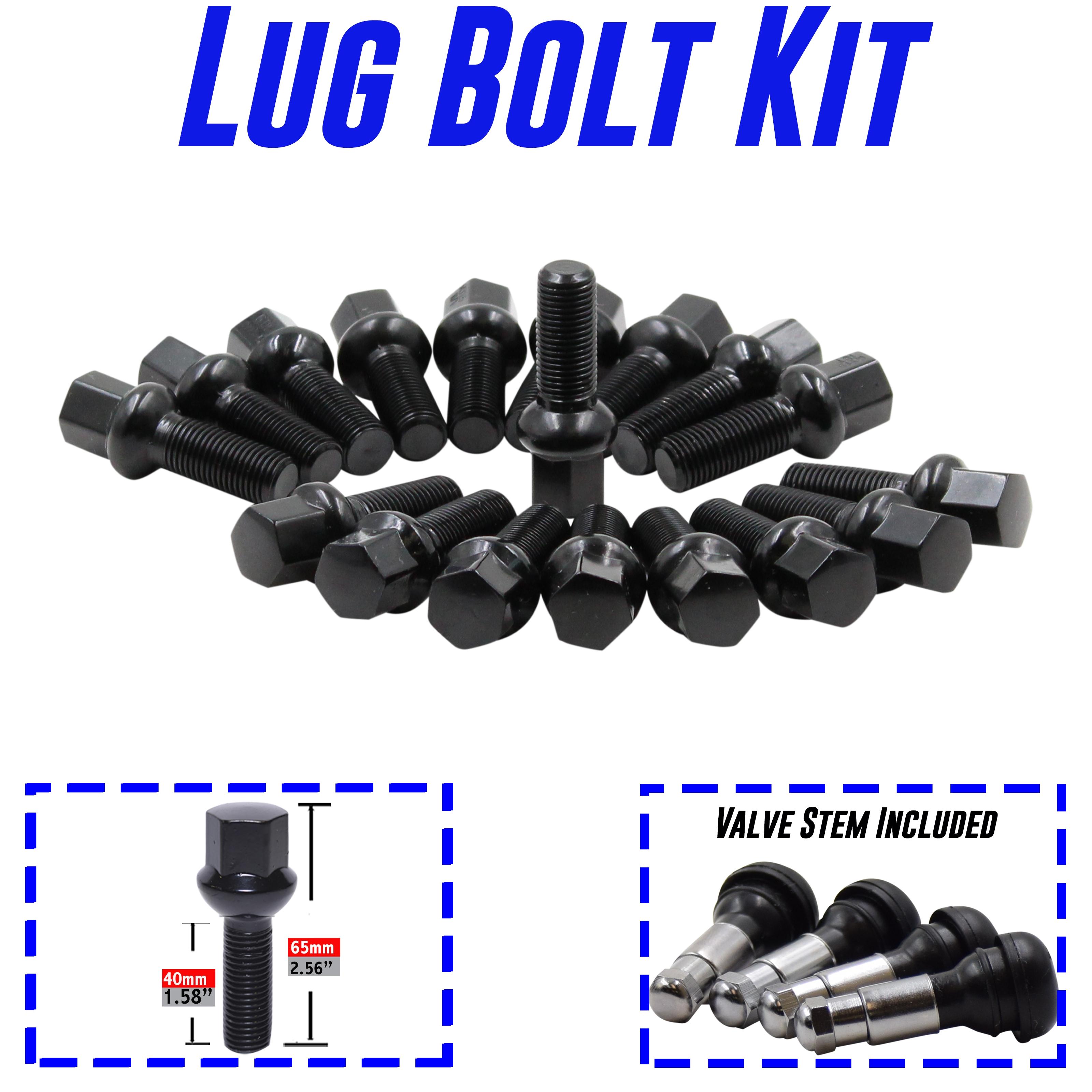 Ball Seat, 40mm Shank 10 - for many VW Audi Mercedes Black 14x1.5 Lug Bolts