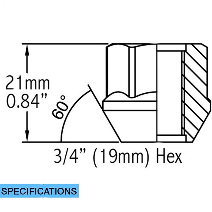 M14x1.50 Hex 3//4 Wheel Accessories Parts Set of 20 Zinc Finish Open-end Acorn Bulge Lug Nuts Set 19mm