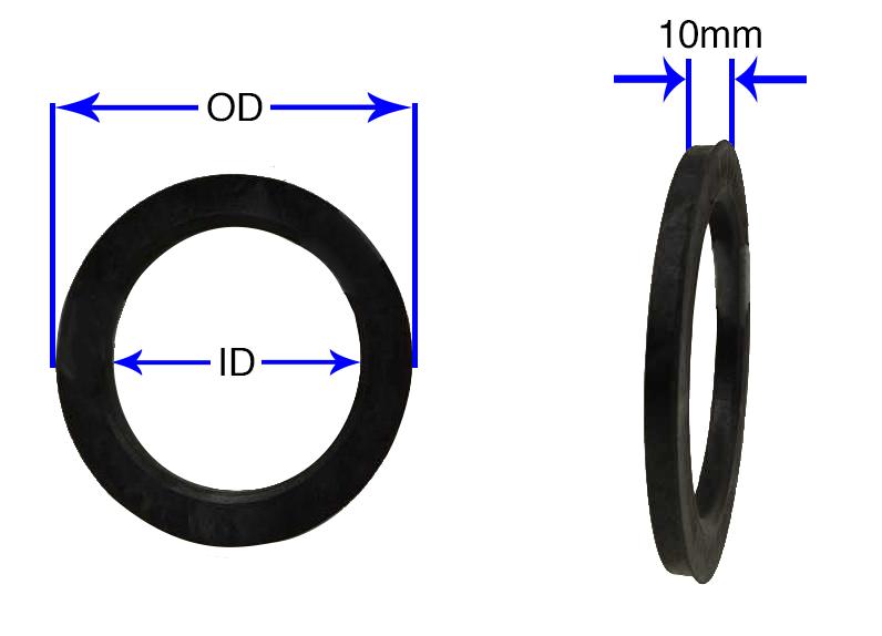 4 Pack 72.6mm OD66.56mm ID Audi Hub Ring