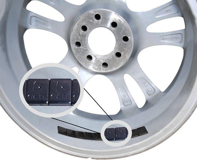 Tape [Steel] 1/4 Oz. Low Profile [52 3 Oz Strips] [Black] on wheel