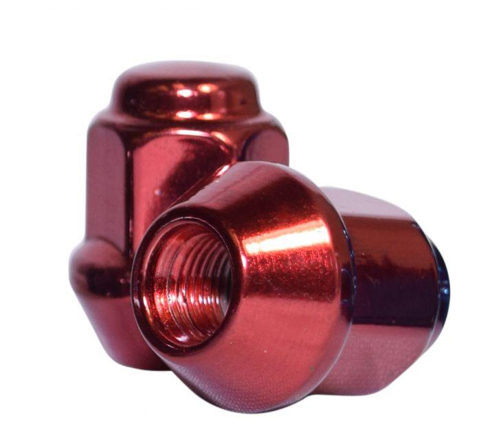 Lug Nut | Bulge Acorn [17mm Hex] 2 Piece 3/8[Red] (Lugs)