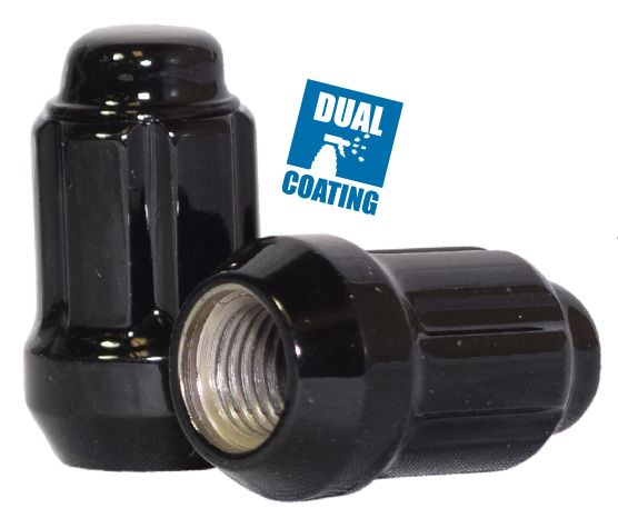 641142BLK Spline Lug Nut | Car [6 Sided] 1/2 [Black] Lugs