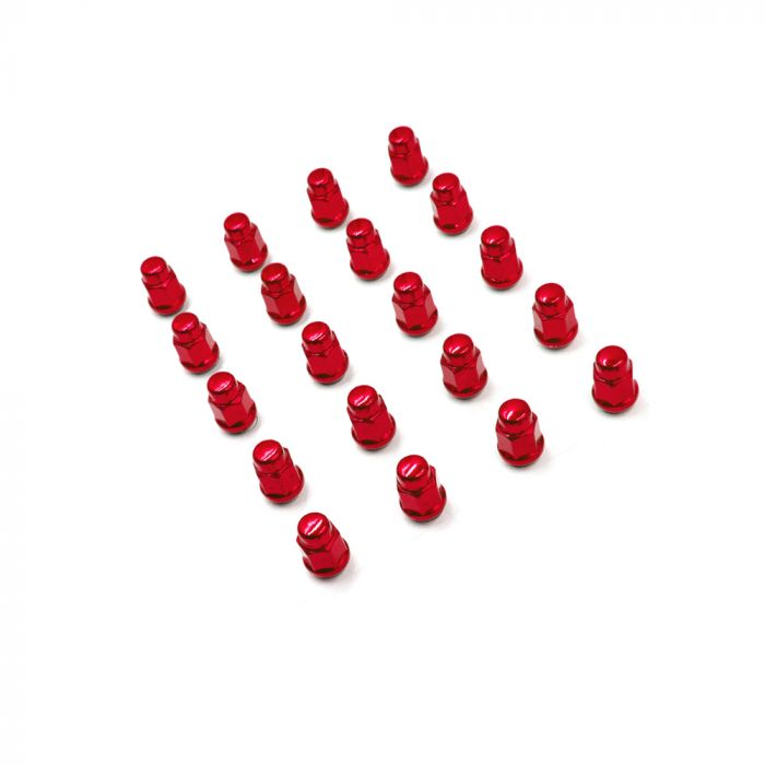 Install Kit - Bulge Acorn (3/4) - M12 1.25 (5 Lug)(Red)(Lugs Only)