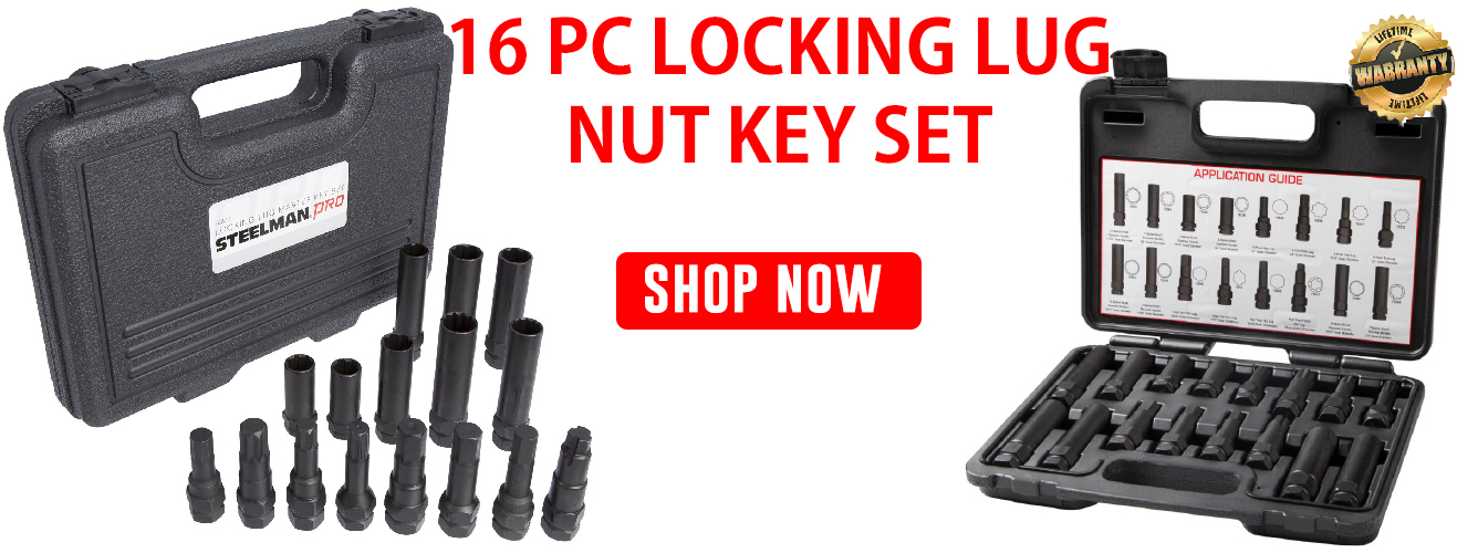 16 PC locking Lug nut key set